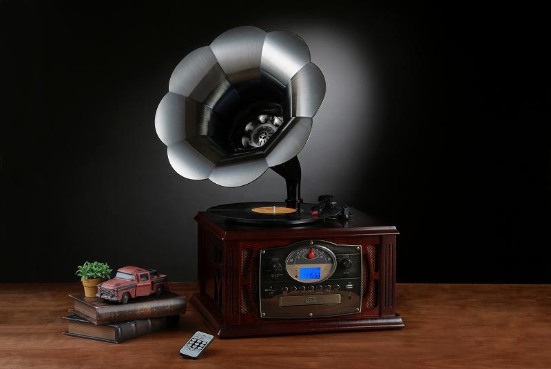 高級アンティーク調仕上げ蓄音機多機能プレーヤー/ND-197
