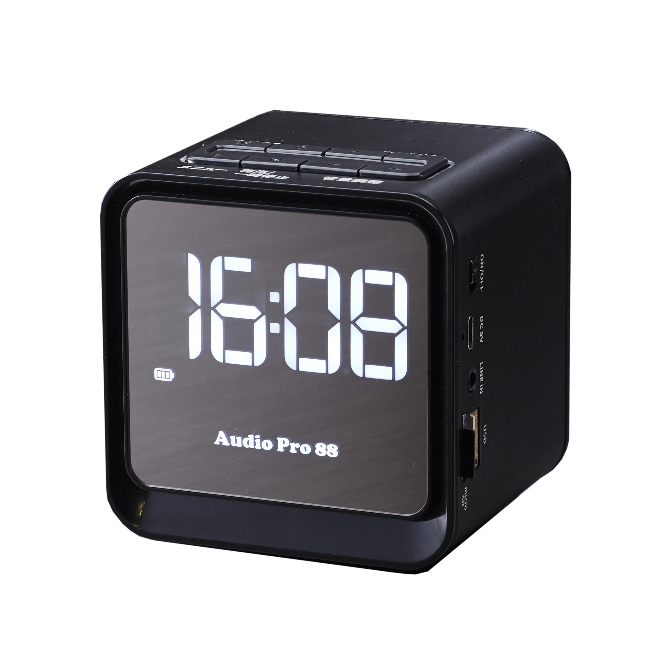 時計機能、FM/micro-SD/USB再生機能搭載のbluetoothスピーカーTMB-009  【プチ・ステ~ション】